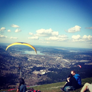 watching paragliders on Tiger Mountain, April 19, 2013