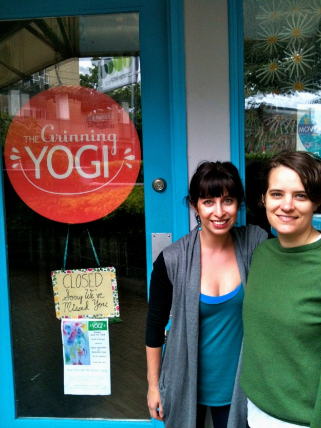 Jamie and Sara outside the Grinning Yogi studio
