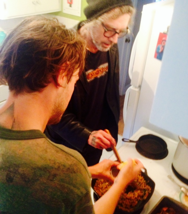 Richard and NKO work on the risotto