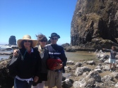 Family walks on the Oregon Coast