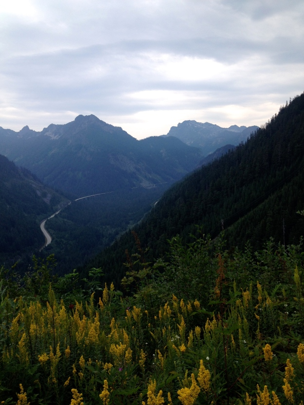 I90 in the distance - thoughts of home approaching Snoqualmie Pass