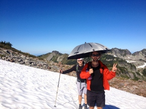 Doug and Groucho at Mount Rainer wonderland trail - September 2014
