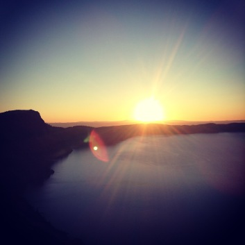 Sunrise hiking the rim trail around Crater Lake, OR