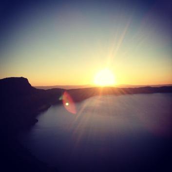 Sunrise hiking the rim trail around Crater Lake, OR