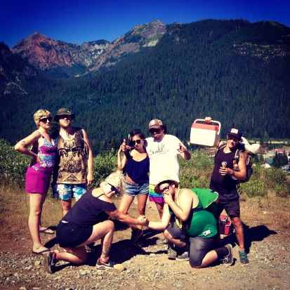 The New Mystics crew met us at Snoqualmie with a resupply box. We proceeded to hike a couple miles and swim in a lake... it was a great visit.
