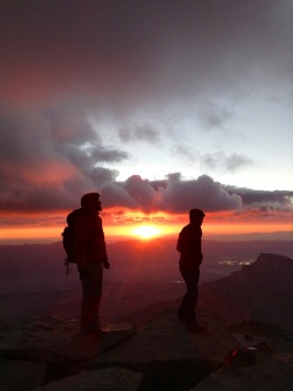 Sunrise on the Whitney summit.