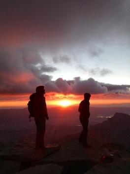 Sunrise on the Whitney summit.